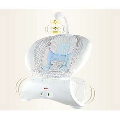 Baby care music rocking chair with 3 Gears Vibration Soothing Belt Voice-blue image 1
