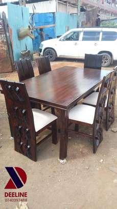 Rectangular 6 Seater Mahogany Framed Dining Sets image 8