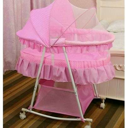 BIG SIZE Metal Baby Crib Rocking Bed Baby Cradle Cot & Baby Stroller With With Fabric Mosquito Net Infant Crib Baby Bed/Bassinet with a Matress (Pink) image 1
