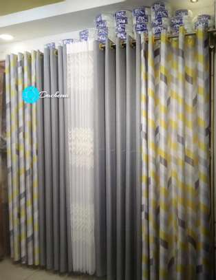 decorated grey double sided curtains image 1