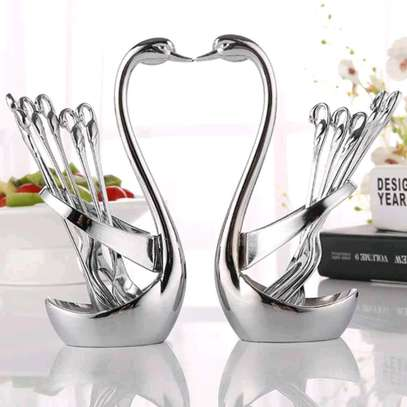 *????Swarn/duck spoon holder+6pcs Tea spoon  now available @1400 each set*  *decorative profile gold in colour*  *Plain profile  silver and gold* image 1