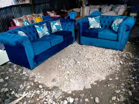 A blue five seater Chesterfield image 1