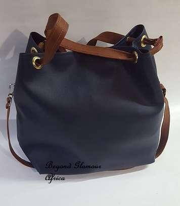 Ladies Blue Leather Handbag With Ankara Strip image 2