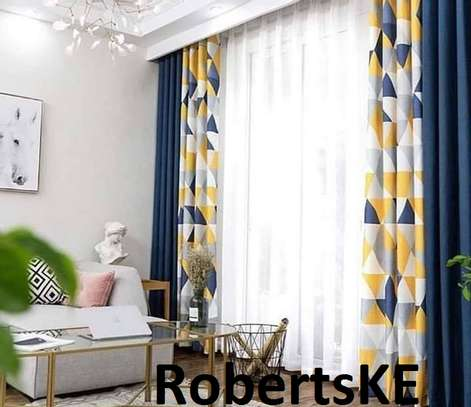 yellow and blue  double sided curtain image 1