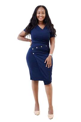 NAVY BLUE DRESS WITH STYLED BUTTONS