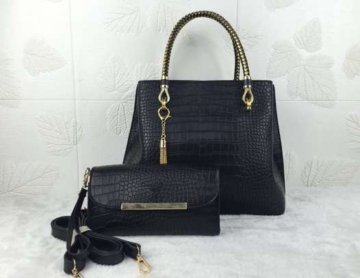 2 in 1 Black Leather Handbag