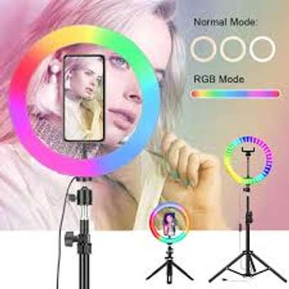 RGB Selfie Ring Light with Stand and Phone Holder, image 1