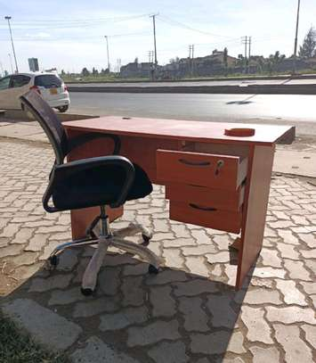 Home office writing desk for small offices and an adjustable swivel chair image 1