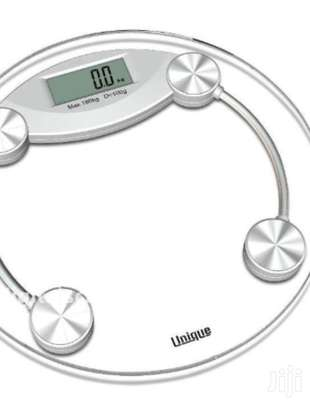 Bathroom Scales Digital Round Transparent Tempered Glass 180Kg Electronic Weight Scale Battery Power Supply image 1