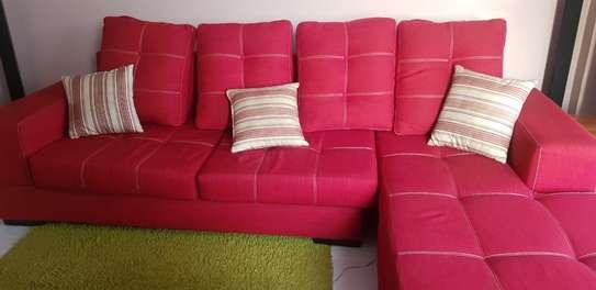 L-Shaped Red Sofa Set image 6