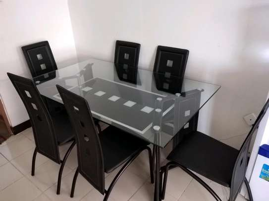6seater pure leather seats dining table