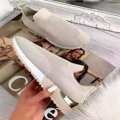 Light gray casual slip on sneakers image 1