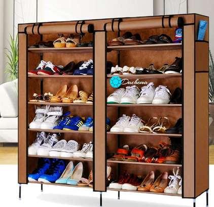 brown two column shoe rack image 1