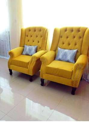 Tufted wingback arm chairs image 1