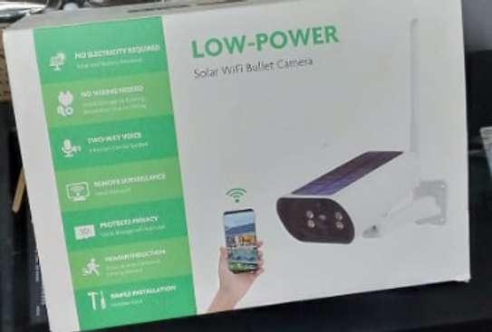 low power solar cctv wifi bullet camera. image 1