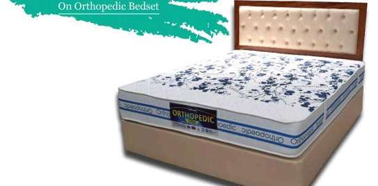 King size 6 by 6 Bed Set: Orthopaedic/Posturepaedic 10 thick Quilted Mattress+Bed+Headboard brand new free delivery image 1