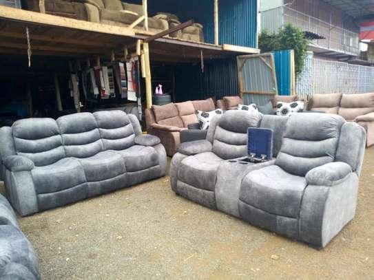 Gray recliner sofa image 1