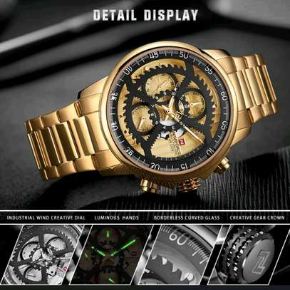 Men Fashion Luxury Quartz Wristwatch Male Casual Waterproof Clock Gold Watch image 2