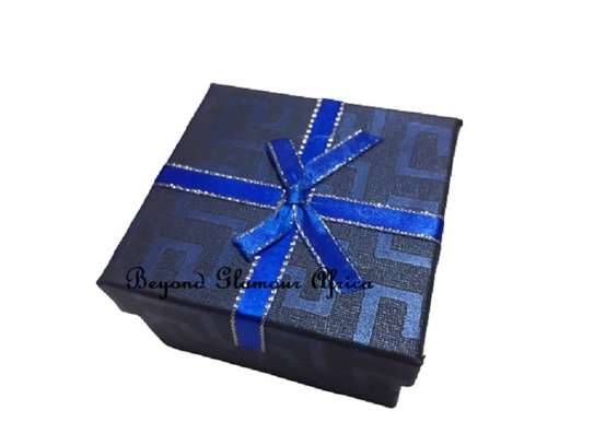 Dark Blue Gift Boxes With Cover Ribbon image 1