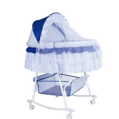 Metal Baby Crib Rocking Bed Baby Cradle Cot (Big size) & Baby Stroller With Fabric Mosquito Net image 1