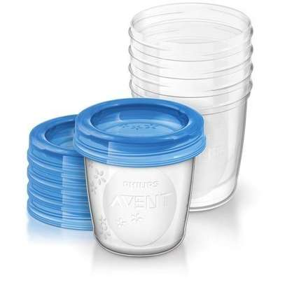 Philips AVENT Breast Milk Storage Cups, 180 ml (Pack of 5) - Clear image 1