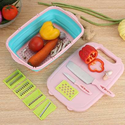 10 in 1 multi~ fuctional  Slicer, 2knives with Collapsable Colander& Chopping Board image 4