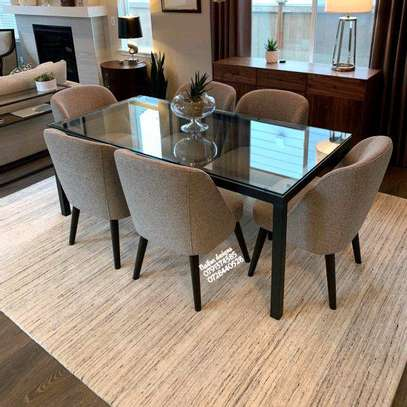 Six seater glass dining tables for sale in Nairobi Kenya/modern six seater dining table set/Latest glass dining tables for sale in Nairobi Kenya image 1