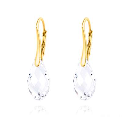 Briolette 24K Yellow Gold Plated Sterling Silver Earrings with Swarovski® Crystal – White