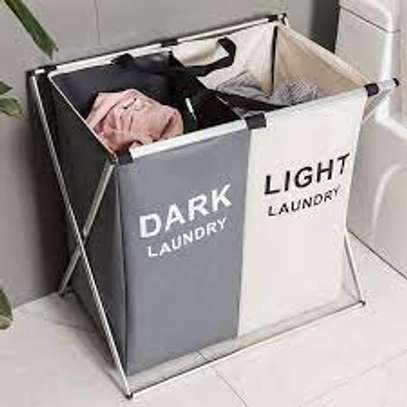 2 Compartments Lights And Darks Foldable Washing Basket - Black Rice image 2