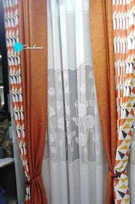 orange double sided curtains image 1