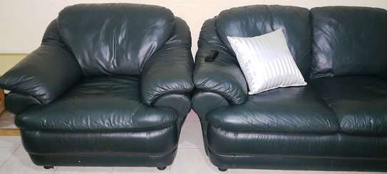 Green Leather 5 Seater