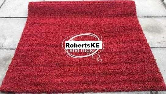 Turkish shaggy carpets maroon image 1