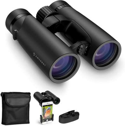 Amcrest 10x42 Roof Prism Binoculars for Adults, HD Professional Binoculars for Bird Watching, Travel, Stargazing, Hunting, Concerts, Sports, BAK-4 Prisms, Smart Phone Adaptor for Photography