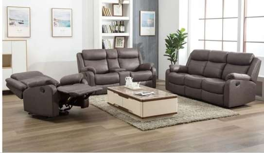 6 seater sofa with console and cup holder image 1