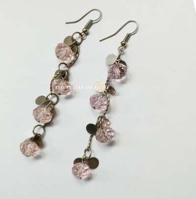 Pink Flowered Crystal Earrings image 1