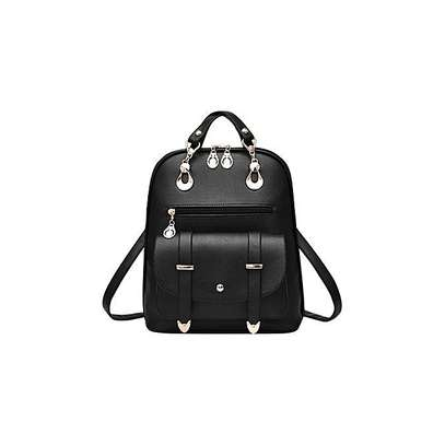 Bagsdiva Women's Casual Backpack Concise Preppy Style PU Leather Shoulder Bag with Bear Pendant,Black image 7