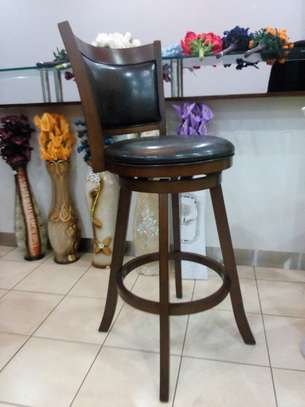 Raised Counter stools - Mahogany and Genuine leather image 1
