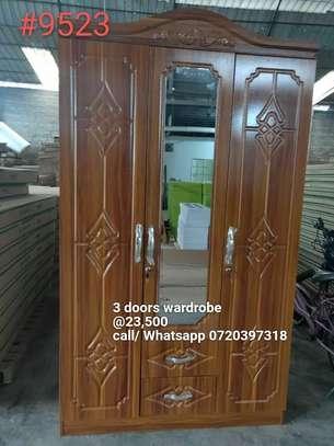 3 Door Wardrobe-Brown image 1