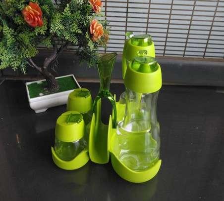 Oil Vinegar Salt Pepper Shaker Set With Toothpicks Serviettes Holder - Green and red image 1