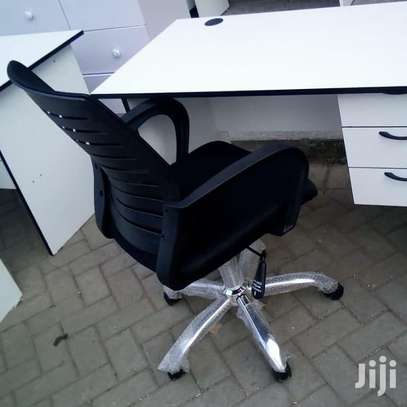 1.2 Metre White Desk and an Office Chair image 5