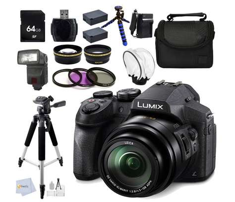 "Panasonic LUMIX DMC-FZ300K 4K, FZ300, Point and Shoot Camera with Leica DC Lens 24X Zoom, (Black) + 0.43X Wide Angle Lens + 2.2X Telephoto Lens + 64GB Memory Card + Reader + 57"" Tripod & More"