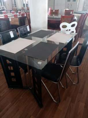 Glass 4 seater dining table image 1