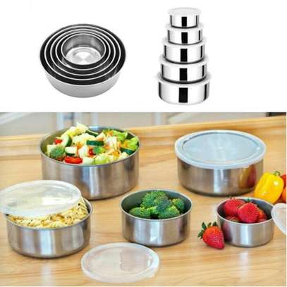 Stainless Steel Storage Food Bowl Containers - Set of 5 image 1