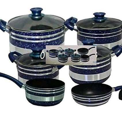 12 Pieces Non Stick Cooking Pots/ Sufuria Set - Blue And Silver image 2