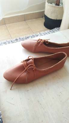 Brown casual ladies oxford flats image 2