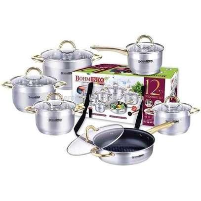12 Pcs Set Aluminium HeavyDuty Cooking Pots Sufurias image 1