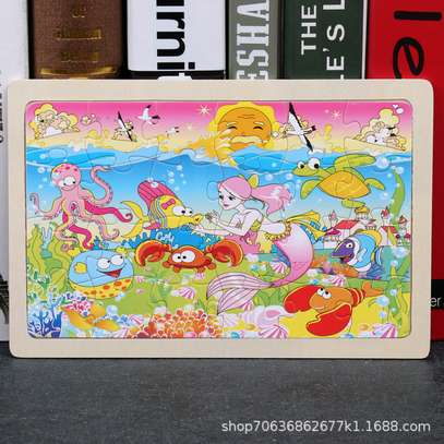 4PCS/3D Wooden Jigsaw Puzzles for Children Kids Toys Cartoon Animal/Traffic Puzzles Baby Educational Puzles image 2