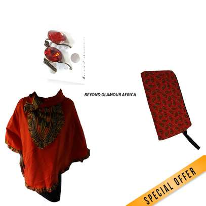 Poncho + pouch + earrings combo image 1