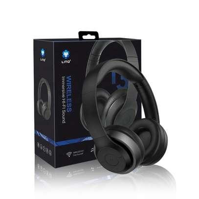 Stereo Wireless Bluetooth Headphones With Mic-Black image 1