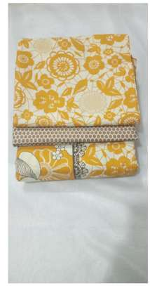 CREAM WITH YELLOW FLOWERS BED SHEETS 6 BY 6 image 1